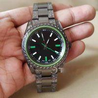 Wholesale Mens Engrave Bracelet - Mens 116400 Custom Engraved Black PVD Case Black Dial Green Saphire On PVD Bracelet ETA 2813 stainless Steel case Automatic Wristwatches