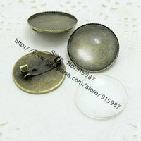 Wholesale Cameo Brooch Settings - (10 set lot) Antique Bronze Metal brooch Cameo 26mm (Fit 25mm Diy) Round Cabochon Settings + Clear Glass Cabochons D0317