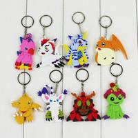 Wholesale wholesale digimon toys for sale - Digimon Adventure Agumon Patamon Tailmon Gomamon Piyomon Gabumon Tentomon Palmon PVC Keychain Digital Toys Pendant Gifts