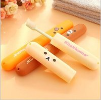 Wholesale Sanitary Toothbrush Holder - Free shipping 1pcs cute Easily bear cartoon toothbrush box easy carry travel toothbrush holder antibacterial Sanitary ware suit