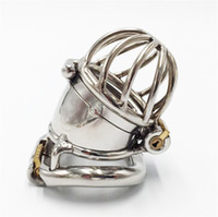 Wholesale Chasity Devices For Men - Two lock design 304# stainless steel 65mm length chasity cage new arrival metal male chastity devices for men