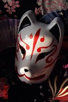 Wholesale Kitsune Mask - Wholesale-Hand-Painted Full Face Japanese Fox Mask Demon Kitsune Cosplay PVC Masquerade Halloween Party Mask Cartoon Character Mask