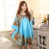 Wholesale Satin Dress Chinese - Wholesale- Summer New Chinese Style Satin Robe Dress Women's Sexy Loose Nightgown Sleepwear Vintage Kaftan Bathrobe Gown Plus Size