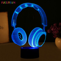 Wholesale headset decorations - Wholesale- 3D LED USB Night Lights Novelty Gift Headset 3D Decoration Lights LED Colorful Touch Button Table Lamp
