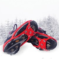 Wholesale Sponge Gripper - Wholesale-New 1pair Black Round nonslip footwear Anti-slip Graber Ice Crampon for hiking Snow Ice Gripper Travel with five teeth 873961