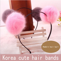 Wholesale Silver Panda Wholesale - 8 Colors Women Korean Rabbit Fur Ball Girls Panda Headband Hairband Hair Hoop Accessories Headwear 20pcs lot