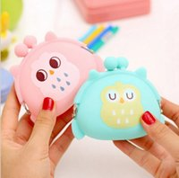 Wholesale Small Silicone Purses - Kawaii Candy Owl Wallet Silicone Small Pouch Cute Coin Purse for Girl Key Rubber Wallet Children Mini Animal Case Storage Bag X'mas gifts