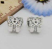 Wholesale Tibetan Butterfly Spacer - 100Pcs Tibetan Silver Big hole Butterfly Spacer Beads Fit Jewelry 12x11mm