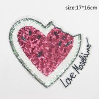 Wholesale Leopard Patches - 1 Pc Of Sequin Patches,Heart Watermelon Patch,leopard Patches DIY Clothes Patches For Clothing Sew-on Applique Deal With It Crafts
