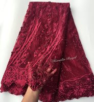 Wholesale Fabric Sewing Lace Beaded - plain wine Beaded soft french net lace African tulle lace fabric for garden sewing aso ebi high quality 5 yards