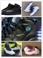 Wholesale Flag Packs - Air Retro 10 X City Pack Black Metallic Gold NYC Chicago ShangHai Flag Charlotte Hornets RIO Good Quality Version Size 8~13 Wholesale