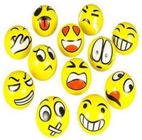 Wholesale Wholesale Exercise Balls - 12Pcs Emoji Faces Squeeze Stress Ball Hand Wrist Finger Exercise Stress Relief Therapy - Colors May Vary
