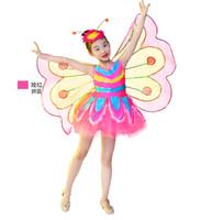 heiße lateinische kleider groihandel-Freeship Kinder Mädchen grün / Pink Pailletten lebendige Burrerfly Flügel Tutu Latin Tanzkleid Tanz Fee Bühne Leistung Kleid / cos