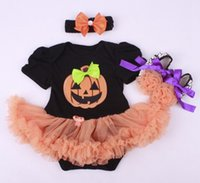 Wholesale Wholesale Skulls Shoes - baby halloween costumes clothes girls boutique outfits newborn tutu ruffle romper + headbands + shoes skull sets pumpkin clothing wholesale