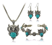 Wholesale Sterling Silver Natural Turquoise Jewelry - 3pc plated Silver Natural Turquoise Rhinestones Owl Necklace Earrings Bracelet Bangle Womens Vintage Jewelry Set