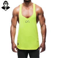 Wholesale Aesthetics Bodybuilding - Wholesale-Snapback Gym Tank Tops Men Fitness Mens Red Tanktop Mens Shirt Gold Men's Bodybuilding Aesthetics Mens Singlets Boys Sport