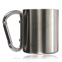 Wholesale Pounds Cups - Wholesale-Hot Sale 220ml double wall travel mug cup Aluminium carabiner stainless steel hook isolating handle outdoor camp travel cup