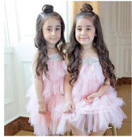 Wholesale Wholesale Chocolate Diamond - Kids Girls Lace Diamond Dresses Baby Girl Princess tutu Cake Dress Girl Summer party Dress 2016 Babies christmas clothing