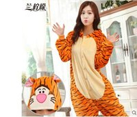 Wholesale Cheap Animal Anime Costumes - Hot Sale Lovely Cheap Orange Tigger Kigurumi Pajamas Anime Pyjamas Cosplay Costume Adult Unisex Onesie Dress Sleepwear Halloween S M L XL
