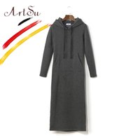 Wholesale Basic Maxi Dress - ArtSu Basic Women Maxi Dress Long Hoodie Dress 2017 Autumn Winter Vestidos Ladies Casual Pockets Maxi Dresses With Hat ASDR20268