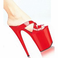 Wholesale Valentine Hotels - 8 Inch High Heel Shoes For Women's 20cm Gorgeous Bright Patent Leather Party High-Heeled Slippers Sexy Valentine Exotic Shoe Red