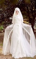Wholesale High Split Wedding Gown - Modest High Neck Long Sleeve Muslim Arabic Wedding Dresses 2016 Vintage Court Train Beaded Lace Applique Front Split Bridal Gowns with Hijab