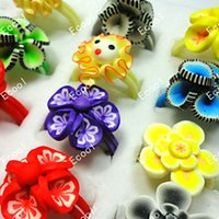 Wholesale Resin Rings Free Shipping - 35Pcs Mix Lot Children Polymer Silicone Clay Rings For Boys Girls Whole Jewelry Bulk Lots Free Shipping LR031