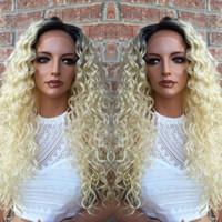 человеческий полный парик шнурка блондинка оптовых-Светлые человеческие волосы парики 7а класс #613 кудрявый кудрявый индийский Реми полный кружева перед парики 100% человеческих волос парики с волосами младенца