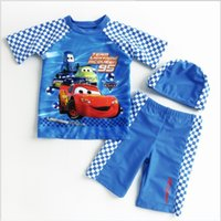 Wholesale Mcqueen Clothing - 2016 Boys Cartoon Lighting McQueen Swimwear Children 3pcs Sets Swimsuit Short Sleeve Tops+Pants+Hats Kids Swimming Clothing Boy Swimsuits