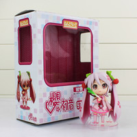 Wholesale Pink Miku - Cute Nendoroid Vocaloid Hatsune Miku Sakura Pink PVC Action Figure 10cm Model Collection Toy 97A Free Shipping