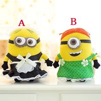 Wholesale Despicable Maid - Wholesale-25cm Maid Minion Plush Toys Doll 3D Despicable ME 2 Minion Stuffed Toys Minions Maid Outfits Green Apron Plush Dolls Baby Toy
