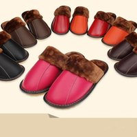 Wholesale Soft Red Leather Shoes - Women Men Real Leather Slippers Winter Genuine Leather Flats Indoor Shoes Couple Shoes Furry Warm Home Slippers