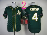 Wholesale Athletic Shirts Xxl - Oakland Athletics Jersey 4 Coco Crisp Jersey White Yellow Green Shirt Stitched Authentic Baseball Jersey Embroidery Logos