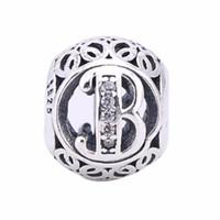 ingrosso alphabet crystal letters-New Clear Crystal Vintage Lettere B Charms Beads 925 Sterling Silver Alphabet B Beads Fai da te Logo braccialetti di marca adatto gioielli europei