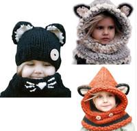 Wholesale Ear Warmer Children - Children 's hat rabbit shawl autumn and winter scarf wool hat ear Warm Fox Hooded Scarf Hat Wool Knitted Crochet Cap KKA2839