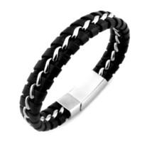 Wholesale Mens Leather Bracelets Magnetic Clasp - Unique Designer 316L Stainless Steel Bracelets & Bangles Mens Gift Black Leather Knitted Magnetic Clasp Bracelet Men Jewelry