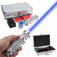 Wholesale Focal Light - 5w Power Blue Light Laser Pointer Pen Adjustable Focal Point Visible Beam Quality Laser Module 445nm-450nm +Charger+Goggles