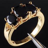 gelbe saphirsteine großhandel-Größe 6/7/8/9 Drei-Stein Black Sapphire 10KT Gelbgold gefüllt Ladys Ring Schmuck