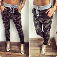 Wholesale Women Plus Size Camouflage Pants - Wholesale-5 Style New Fashion women Sweatpants S-XXL Plus Size Camouflage Printed Womens Harem Pants 2016 Nineth Capris Casual Trousers