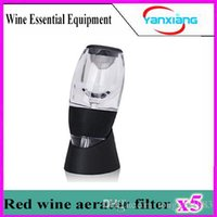 Wholesale Red Wine Glass Gift Boxes - 5pcs Portable Wine decanter Magic Decanter Red Wine Aerator with Essential Set W Gift Box YX-XJQ-02