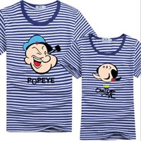 Wholesale T Shirt Women Sailor - Hot 2017 New Summer Fashion Men women Short Sleeve Stripe T Shirt Cartoon print Popeye Casual Male O-neck Sailor Tops Navy T-Shirt