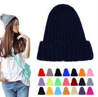 Wholesale Wool Colorful Hat Fashion - Unisex Fluorescent Colorful Autumn And Winter Warm Women Men Wool Hat Couples knitted cap pointed hats Beanies Elastic