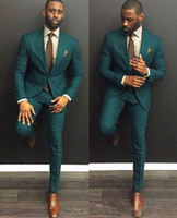 Wholesale custom hot pants - green Custom Slim Fit Mens Business Suit Jacket + Pants + Tie Handsome Men's Suits Spring 2017 Hot Sell Wedding Suits Groom Ebelz Custom