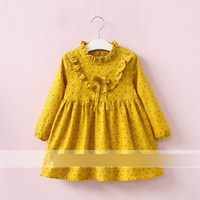 Wholesale Thick Dresses Bow - Autumn New Princess Girls Dresses Dots Printed Dress Long Sleeve Bow Doll Dress Velvet Thick Kids Clothes Dresses Yellow Navy A7724