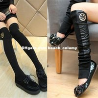 Wholesale Metal Leg Cuffs - DHL free New women fashion leg warmers boots socks cool Metal Pendant decoration leather Boot Cuffs Leg Warmers Boot Socks Knee High Socks