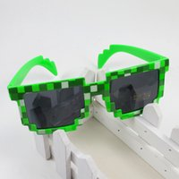 Wholesale Black Frame Glasses For Kids - Fashion Children Sunglasses Mosaic JJ Creeper Glasses Pixels Retro Square Sunglass Knickknack Gift For Kids Boys Girls Top Quality ZD073