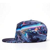 Wholesale Galaxy Visor - Persionality Art Designer Galaxy Planet Print Hip Hop Caps Fasion Sport Baseball Hats Visors For Adults Unisex Snapback Caps DHL Free