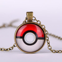Wholesale Cute Japanese Jewelry - Pocket cute Monsters Glass Cabochon necklace keychains Japanese anime time gemstone necklaces fashion jewelry for women men 161008