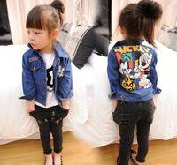Wholesale Children Clothing Girls Denim Jacket - 2016 Autumn New Girl Denim Jacket Mickey Mouse Cartoon Long Sleeve Coat Children Clothing 2-7T B1002