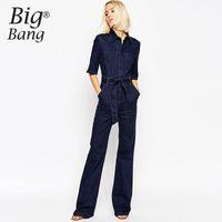 Wholesale jean rompers - Wholesale- Vogue Women Jumpsuits 2016 Summer and Autumn Jean Pants Belted Waist Pockets Long Jumpsuit Denim Rompers Trousers M16053004